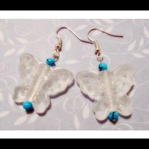 🦋Turquoise Beaded Frosted Butterfly Earrings🦋
